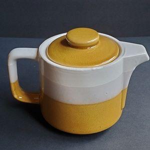 Vintage Japanese Tea Pot Yellow White Stripe